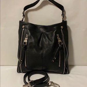 Makowsky Shoulder Bag Black Leather Purse Large